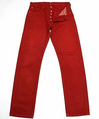 Vintage Levis 501 Red Mens/womens High Waisted Boyfriend Jeans W32 L33 L878