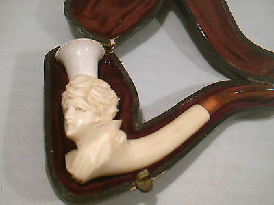 Antique Carved Lady Meerschaum Pipe