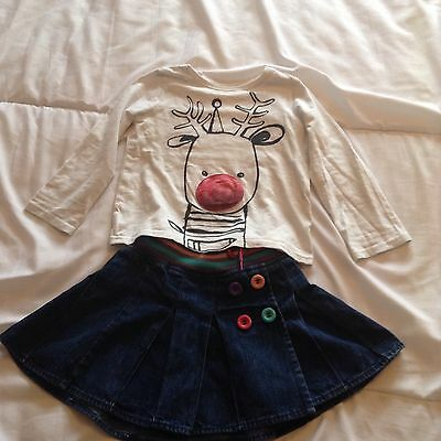christmas top From Next and skirt age 3-4