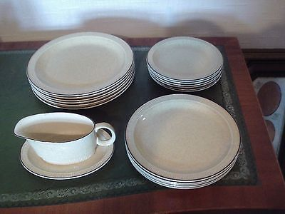 Poole pottery  Broadstone 17 plates and gravy boat