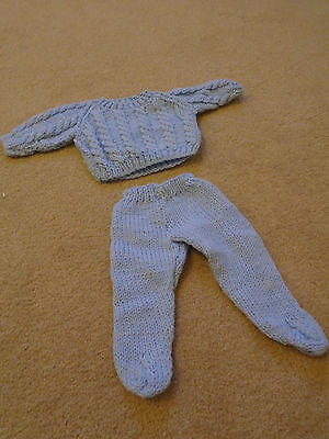 Hand knitted doll's outfit: jumper and leggings (blue)