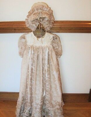 STUNNING ANTIQUE CHRISTENING GOWN with BONNET -