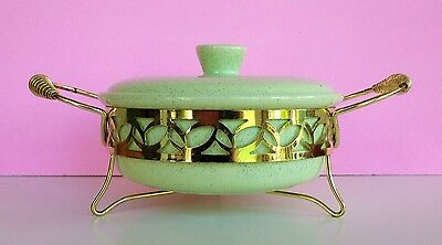 Bauer Pottery Covered Casserole w/ Gold Metal Carrier Light Green Speckle MCM