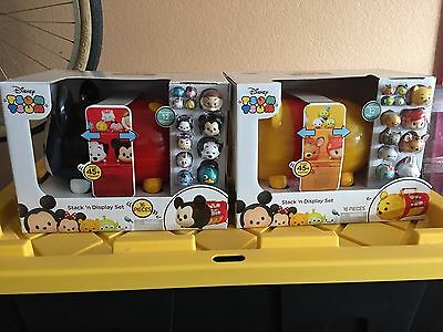 2 Disney TSUM TSUM Stack 'n Display Set Carry Cases Mickey Mouse & Winnie Pooh