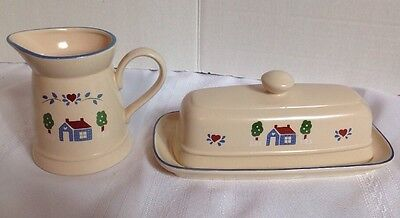 International Tableworks Habersham Country Creamer & Covered Butter Stoneware