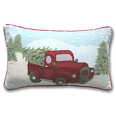CHRISTMAS TREE IN RED TRUCK PILLOW @ 4FreeShipping BOW WREATH HOLIDAY DECOR