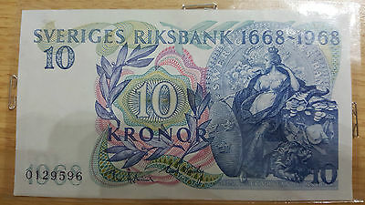 1968 Swedish banknote 10 Kronor note uncirculated condition