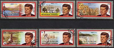 Sharjah Stamps 1972 John F Kennedy Complete Set of 6 Very Fine Used