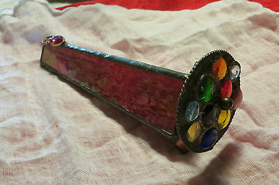 Stained Art Glass Retro Artist Made Kaleidoscope with Spin Wheel