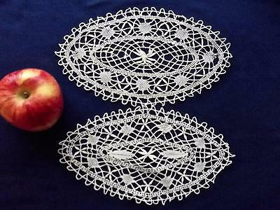 "2 Antique Hand Bobbin Cluny Lace 5x9"" Oval Christmas Doilies Off-white Cotton"