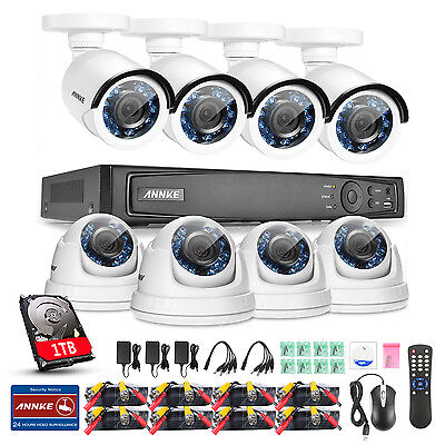 ANNKE 1080P 2MP TVI 8ch 4in1 DVR Outdoor Smart Home Security Camera System 1TB