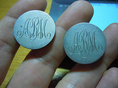"""Canada Silver 25 Cents Made Into Cuff Links Engraved """"arm"""" Love Tokens Folk Art"""