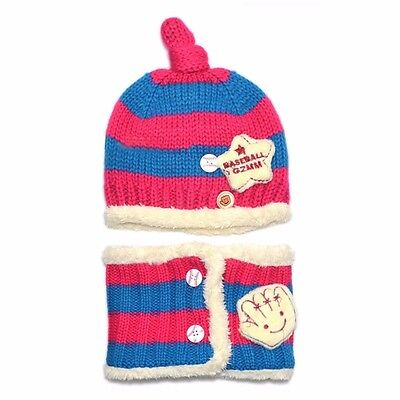 Toddler Girls Boys Baby Kid Winter Beanie Warm Hat Hooded Knitted Wool Scarf Cap