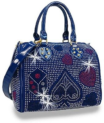 Rhinestone Blue Playing Card Suits Satchel Design on all Sides Detachable Strap