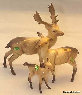 """Beswick """"Deer Family"""" Stag / Doe / Fawn   VGC"""