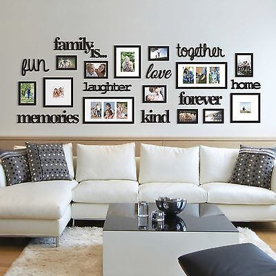 22 pcs word family is photo picture frame collage set black home wall art decor
