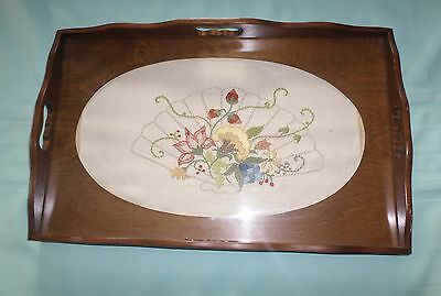 Serving Tray Wood Glass Top Insert Very Nice