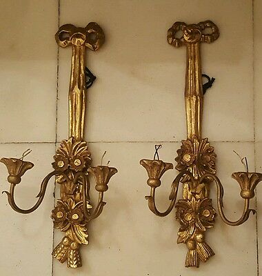 Fine pair of antique italian gilt wood wall sconces