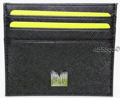 Versace Jeans Black Saffiano Leather Credit Card Holder Boxed