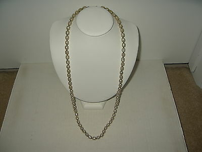 "Vintage 30"" Signed Miriam Haskell Baroque Pearl Single Strand Bead Necklace"