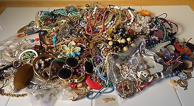 Huge 9 Lbs Pounds Junk JEWELRY LOT Vintage to Now Some Broken Some Wearable