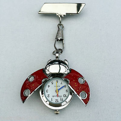 Beautiful Red Ladybird Nurses Beautician Fob Watch Brooch Pin