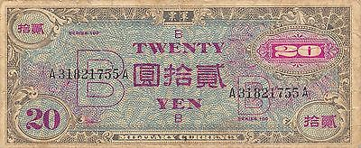 Japan 20 Yen ND. 1945  P 73 WW II issue  circulated Banknote K