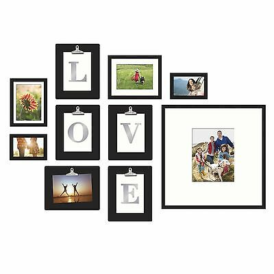 10 piece love or home photo picture frame collage set black home wall art decor