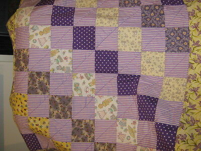 cot quilt, hand made patchwork.