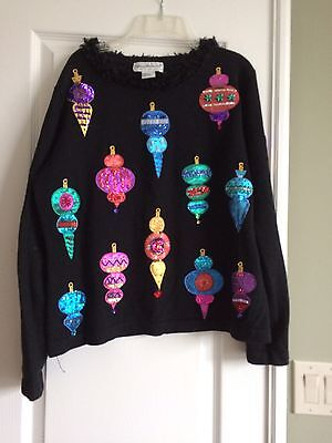 Vintage Bellepoint Pullover Christmas Sweater Ornaments with Lots of Bling L