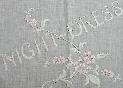 "Antique Embroidery Drawn Work ""Night Dress"" Case  - Gorgeous Padded Embroidery"