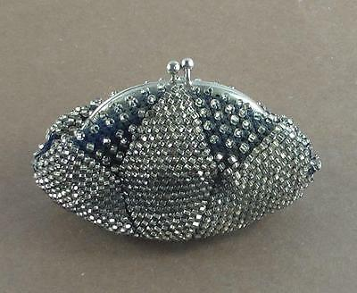 Antique Vintage Beaded Kiss Lock Hand Bag or Coin Purse