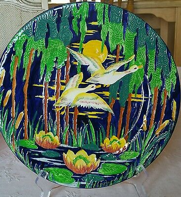 """Vintage Mailing Charger """"Flying Geese"""" Cobalt Tube Lined Water Lilly 6358 Plate"""