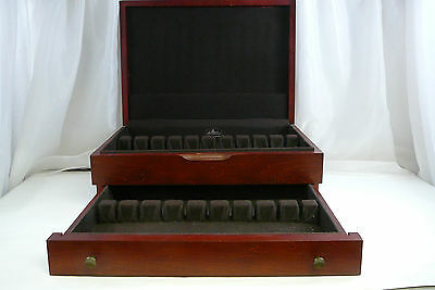 Flatware Storage Chest Silverware Box Cherry Stained Wood with drawer Vintage