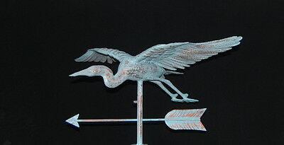 3D FLYING HERON Weathervane AGED COPPER PATINA FINISH Handcrafted FULL BODIED