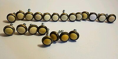 Antique lot of 21 Vintage Brass Ceramic Porcelain Center Drawer Pulls