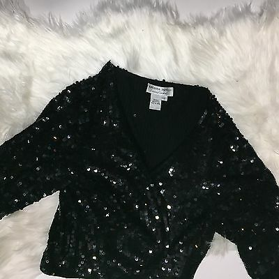 Adrianna Papell Evening Essentials Black Sequined Cardigan Jacket Cocktail NYE L