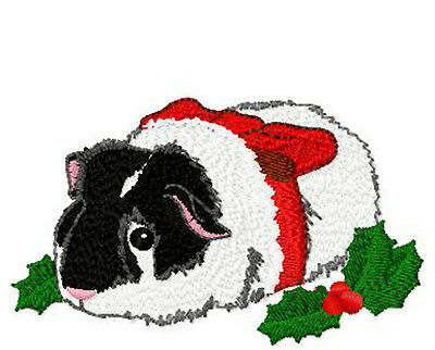 Christmas Guinea Pig (blck and white)  Embroidery Patch