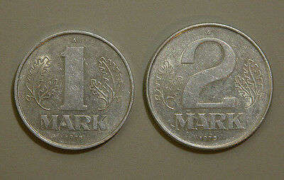 1975 A 1 Mark and 1975 A 2 Mark East German DDR Coin