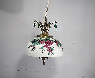 Antique Vintage Chandelier Glass Painted Dome Cherries Bronze Lights Crystals