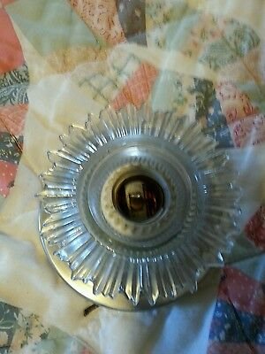 Vintage Chrome and Candlewick Style Glass Flush Mount Ceiling Light Fixture