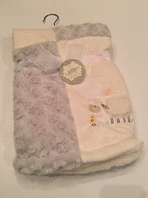 Kyle And & Deena Baby Boy Girl Grey Ivory Blanket Rosette Sherpa Sheep Lamb