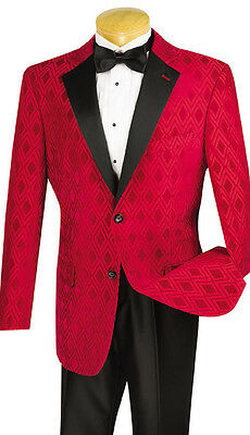 New Mens Red Diamond Tuxedo DJ Dinner Jacket Black Pants incl. Christmas TUXXMAN