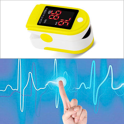 Fingertip Pulse Oximeter Blood Oxygen Saturation Heart Rate Monitor Yellow