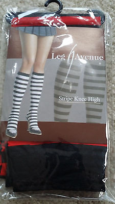 Lot of 4 red  Black  Striped  LEG AVENUE knee Hi high  One size