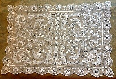 Antique Edwardian Hand Made Embroidery on Net Beautiful Italian Runner