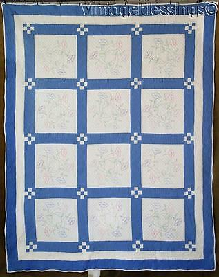 """Gorgeous Hand Quilting! Vintage 20-40s Blue & White QUILT 83"""" x 67"""""""