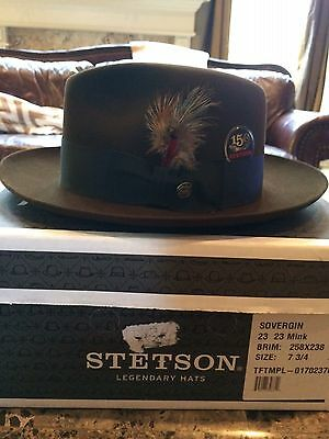 "Stetson Royal Deluxe ""temple"" Mink Size 7 3/4 Great Dress Fedora!"