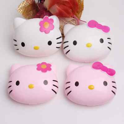 Cute Bowknot Kitty Contact Lens Case Travel Kit US Pupil Container Storage Box