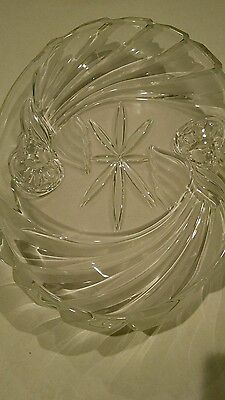 Gorham Crystal Oval Platter Holiday Traditions Angels of Peace Clear